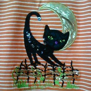Holiday Editions XL Cat & Moon Long Sleeve Top